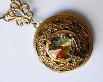 MoonGoddess Locket, Goddess of the Moon Locket, Swarovski Rivoli Moon Locket, Goddess, Moon, Brass Locket, Rivoli, Swarovski