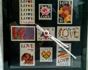 Love Story Clock -Hipster Pop Art Love Story Logo Design -Vintage 80s USA Stamp Collectible Home Decor - Modern Retro OOAK Gift for Lovers
