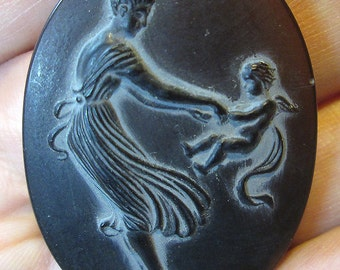 1 Vintage Mother and Child Glass Cameo