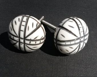 Pair of Drawer Knobs - Faux Bone Resin Cabinet Knobs - Boho Style Drawer Pulls