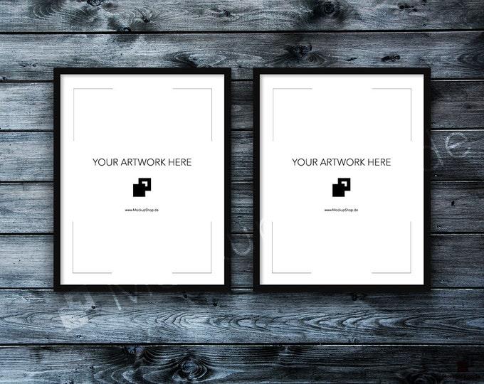 11x14 Set of 2 FRAME MOCKUP BLACK / Styled Photography Poster Mockup, old wooden dark grey wall, Framed Art, Frame Mockup - 40% Discount
