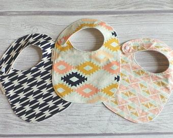 Southwestern Baby Bib Set / Side Snap Bibs / Drool Bib / Organic Cotton Fleece / Modern Baby Bib / Tribal Baby Bib / Boho Baby Bib