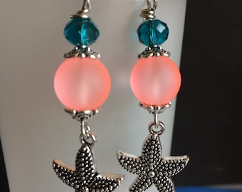 Sea Star Flower Earrings with Frosted Glass and Crystal