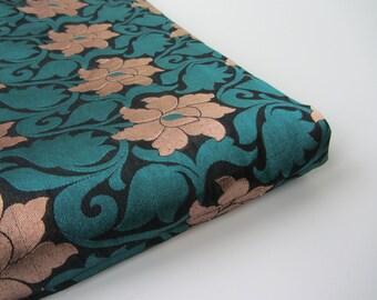 Black blue golden flowers silk brocade India - for 1/4 yard | fat quarter - fabric nr 660