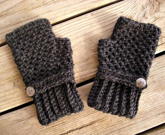 Crocheted Fingerless Gloves Mittens - Fingerless Gloves in Charcoal Dark Grey Heather - Grey Gloves Grey Mittens Womens Accessories