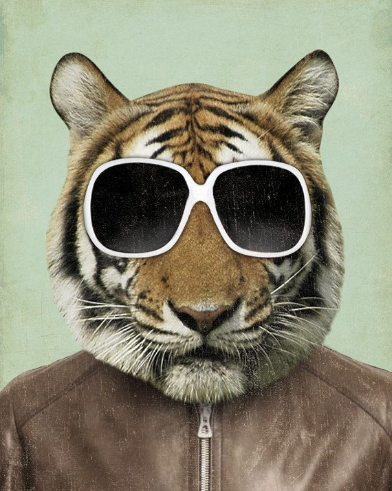 Tiger Art The Cool In Sunglasses Print