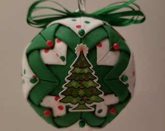 Green and White folded fabric handmade ornament with wooden Christmas Tree decoration