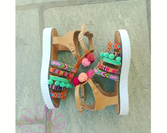 Bohemian Spartan leather sandals