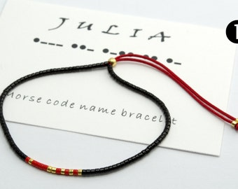 Custom -Morse Code Name Bracelet, Beaded Bracelet, Minimalist Bracelet, Friendship Bracelet, Beaded Bracelet, Boho Bracelet, Simple Bracelet