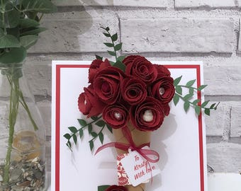 Large 3D Rose Bouquet Card, 3D Flower Card, Paper Rose Card, Valentines Card, Mothers Day Card, 3D Birthday Card, 3D Love Card