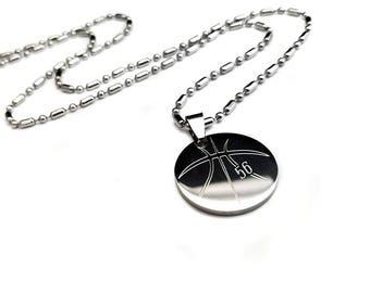 Basketball pendant necklace + basketball dog tag pendant + sports + bball necklace + sport necklace + basketball necklace