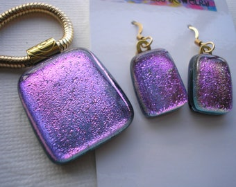 Ultra Violet Matching Pendant and Earrings, Dichroic Fused Glass,  14K Gold Filled Earwires, Purple  Fuschia Violet Jewelry, Dichronic Glass