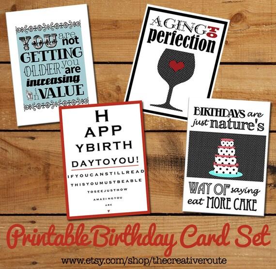 Printable Birthday Cards Set Of Funny Birthday Quotes DIY