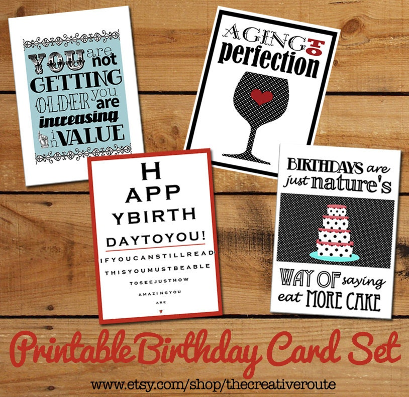 Printable Birthday Cards Set Of Funny Birthday Quotes DIY