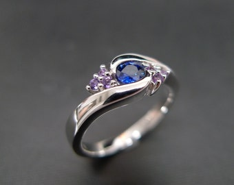 Blue Sapphire with Amethyst Engagement Ring in 14K White Gold, Blue Sapphire Ring, Amethyst Ring, Wedding Ring, Wedding Band, Sapphire Band