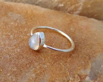 Rainbow Moonstone Pear Cab Simple Ring - 925 Sterling Silver Handmade Ring - Gift Ring