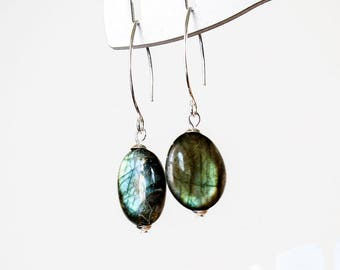 Labradorite Sterling Silver Earrings  Blue Labradorite Silver Drop Earrings  Long Labradorite Gemstone Earrings  Gift for Woman