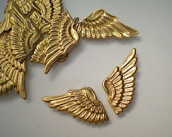 12 brass wing charms