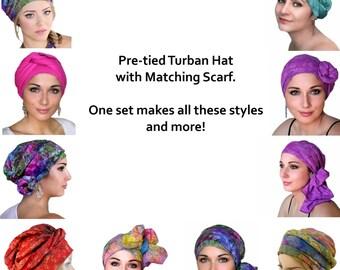 Turban Diva Creme Velvet Turban, Head Wrap, Chemo Hat, Alopecia Scarf, Hat & Scarf Set