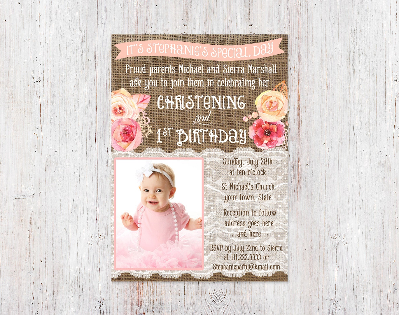 Old Fashioned Baptism Party Invitations Composition - Invitation ...