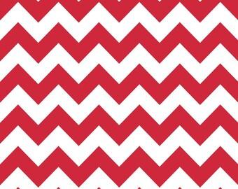 "LAMINATED Cotton  - Red Chevron, 42"" Wide, BPA & PVC Free"