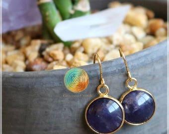 Amethyst Earrings,  18K Gold plated Earrings, Purple Earrings, Amethyst Gemstone Earring, Dark Purple, Bridesmaids Earrings, Bridal Jewelry