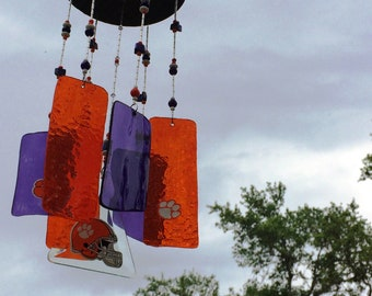 Clemson University Tigers Stained Glass Wind Chime