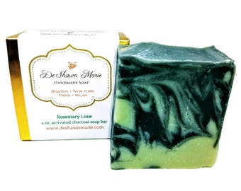 SOAP - Rosemary Lime Soap, Vegan Soap, Cold Process Soap, Natural Soap, Activated Charcoal Soap, Christmas Gift, Mother's Day Gift