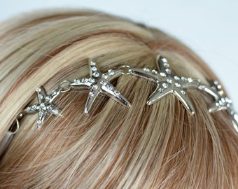Beautiful Handmade Crystal Rhinestone Starfish Hairband, Bridal, Wedding (Sparkle-2657)