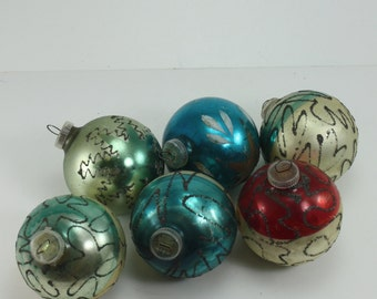 Vintage Glass Christmas Ornaments West Germany Hand Painted Hand Made Mica Glitter Set of 6