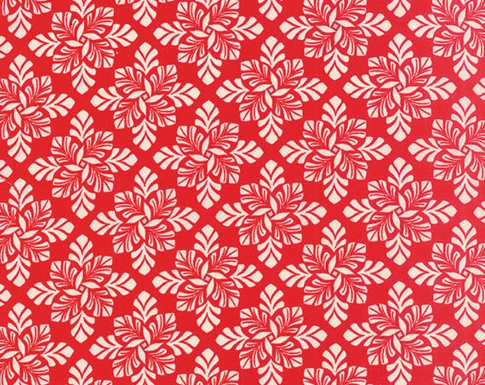SOLSTICE - Hemisphere in Berry Red - Flowers and Leaves Winter Cotton Quilt Fabric - by Kate Spain for Moda Fabrics - 27185-11 (W3939)