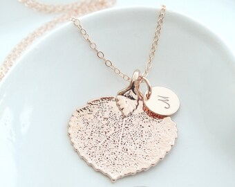 Rose Gold Leaf Pendant Rose Gold Leaf Jewelry Statement Necklace Real Aspen Leaf Necklace Rose Gold Necklace Christmas Gift Bridesmaid Gift