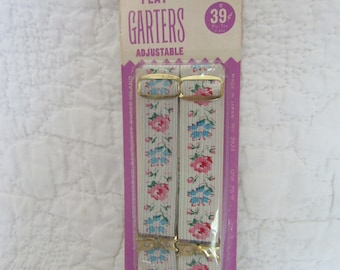 """Vintage Flat Garters Floral Elastic by Stretch Rite 3/4"""" new vintage stock"""