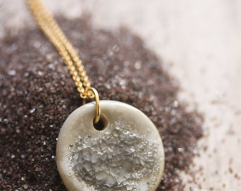 Ceramic and Glass Pendant Necklace