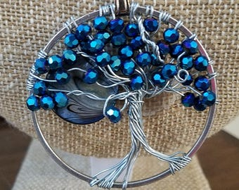 Tree of Life Blue Crystals with mother of pearl moon