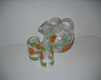 Vintage Orange Juice Ball Pitcher And Two Glasses