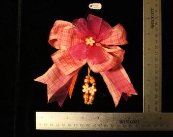Pink & Orange Plaid Flower Hair Bow