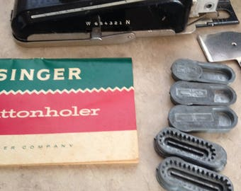Singer buttonholer 1940's.  5 cams Book and case, Gift for sewer with old sewing machine