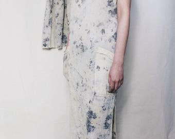 ONE OF A KIND/ Flower Dyed Gauze Maxi Dress, Handmade Simple White Dress, Naturally Dyed, Women's Clothing