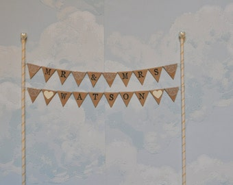 Personalised Kraft brown wedding cake top bunting