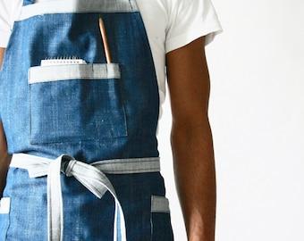 Stone wash denim apron, Mens apron