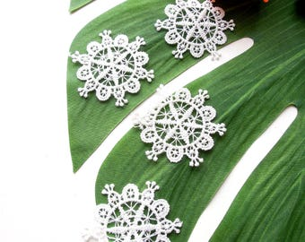 10 White snowflake lace appliques  Winter wonderland lace appliques  White lace embellishments  Ski theme decorations  Sew in lace applique