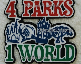 DISNEY 4 Parks 1 World Die Cut Title - now with Tower of Terror - Scrapbook Page Paper Piece Piecing - SSFF