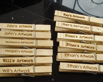 25 Custom Clothespin Wedding Favors place card holders