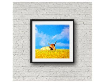 Wall Art Longhorn Cow Pasture Blue Sky Texas Landscape Limited Edition Wall Art Giclee Square Print