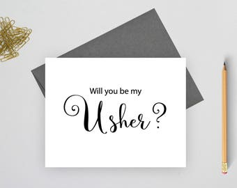 Will you be my usher card, wedding stationery, folded note cards, folded wedding cards, wedding stationary, wedding note cards
