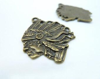 8pcs 27x35mm Antique Bronze Emirates Indian Tribe Chief  Head Charm Pendant C1804