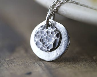 Sun & Moon Necklace | Hammered Handmade Sterling Silver Necklace Jewelry by Burnish | Gift for Women