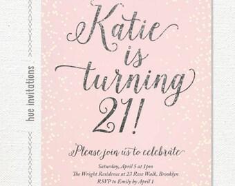 21st birthday party invitation for women modern geometric 21st birthday invitation for women blush pink silver glitter birthday party invitation girls birthday party digital invitation printable filmwisefo