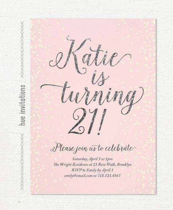 21st birthday invitation for women blush pink silver glitter 21st birthday invitation for women blush pink silver glitter birthday party invitation girls birthday party digital invitation printable filmwisefo Image collections